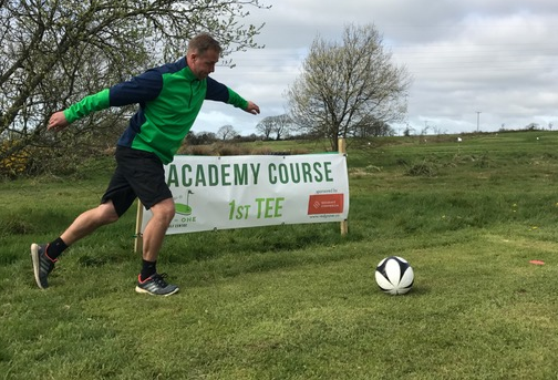 Kicking Football Goal In One Footgolf Centre Academy Course Bodmin Lanivet Cornwall