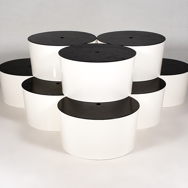 9 tapered holes and lids